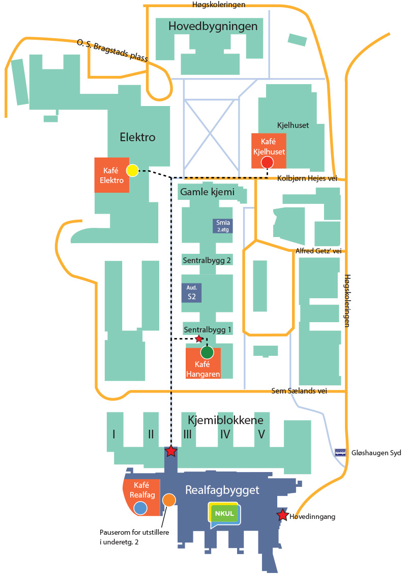 kart over Gløshaugen Campus med markering av lunsjkantiner for NKUL