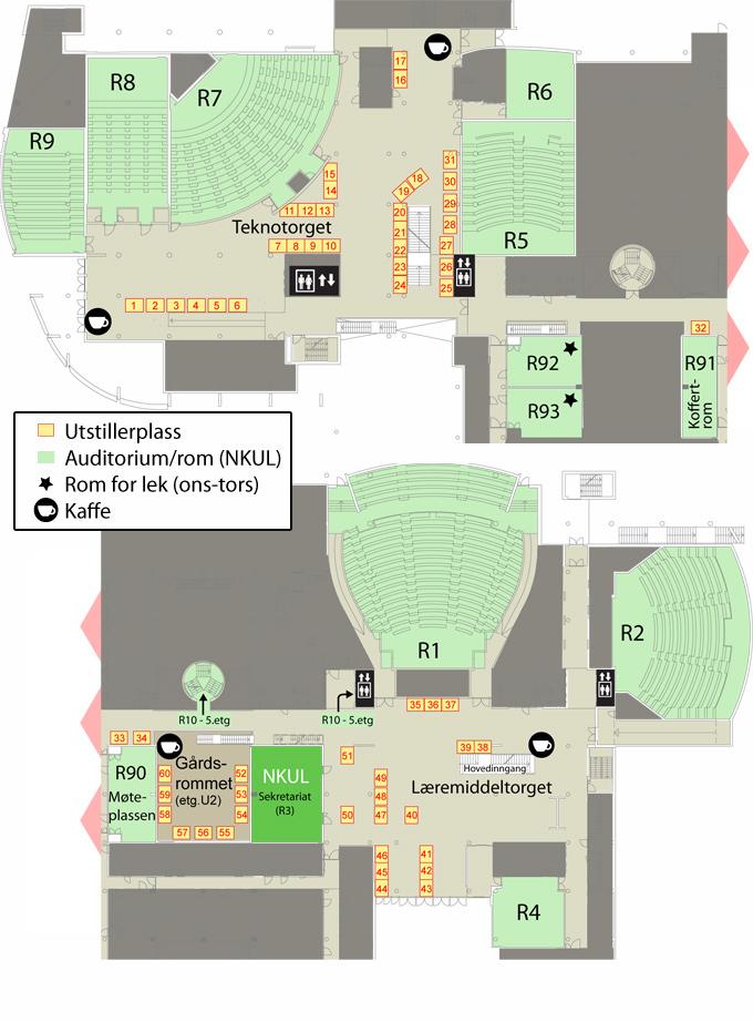 realfagbygget plantegning U1 med gårdsrommet i U2